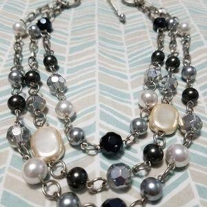 Classy Lia Sophia 3 strand faux pearl necklace